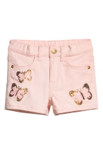 Twill shorts with appliqués - Light pink/Butterflies - Kids | H&M 2
